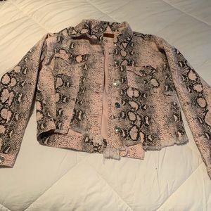 NEW POL pink denim snakeskin jacket